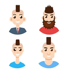 Mohawk hairstyle character avatar set vector