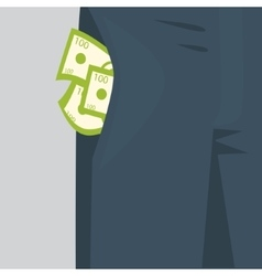 Money sticking out of the pocket from mens pants vector image