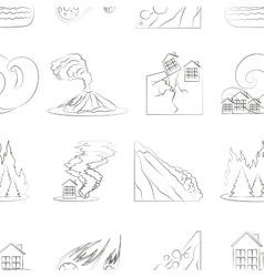 Natural disaster icon set pattern vector
