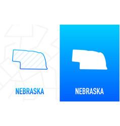 Nebraska - us state contour line in white vector