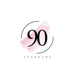 Number 90 watercolor stroke logo design vector