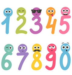 Numbers from zero to nine with faces vector