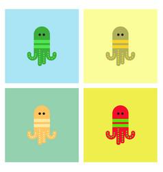 Octopus cartoon collection vector