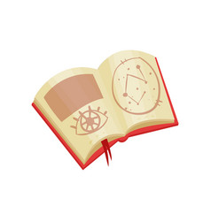 open book with magic spells and mystical symbols vector image