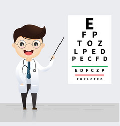 ophthalmology concept oculist pointing at eye vector image