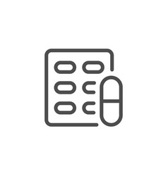 Pill blister line icon vector