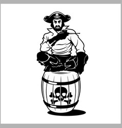 Pirate sitting on a barrel vector