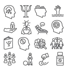 psychology line icons set on white background vector image