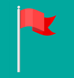 red flag on metal flagpole template vector image