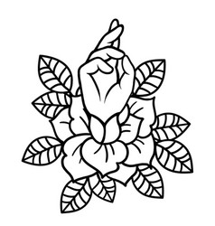 rose tattoo with hand art vector image