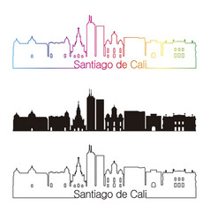 Santiago de cali skyline linear style with rainbow vector