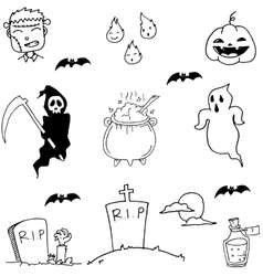Scary Halloween doodle vector