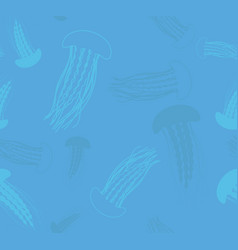 seamless patern with jellyfish print vector image