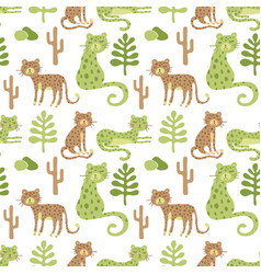 Seamless safari pattern with leopards vector