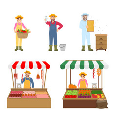 Sellers and farmers icons set vector