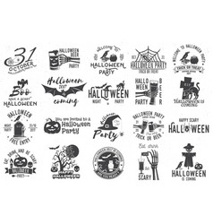set of halloween celebration collection vector image