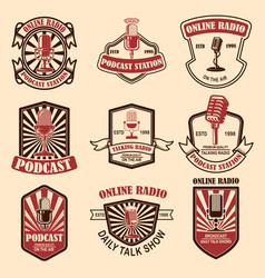 set vintage podcast radio emblems vector image