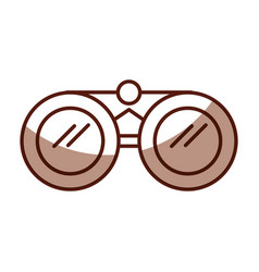Shadow brown binoculars cartoon vector