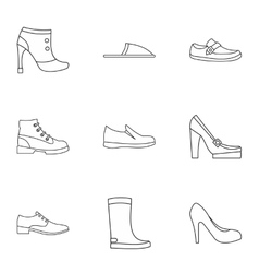 Shoes icons set outline style vector