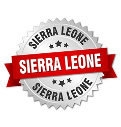 Sierra Leone round silver badge with red ribbon vector image