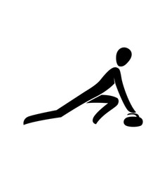 silhouette curling sliding athlete with granite vector image