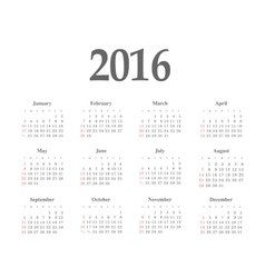 Simple 2016 year calendar vector