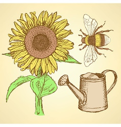 Sketch sunflower bee and watering can vector