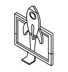 Spaceship in pc screen start up 3d vector