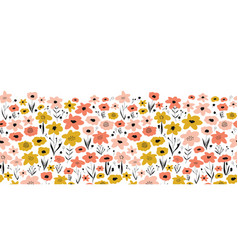Spring flower meadow seamless border pink vector