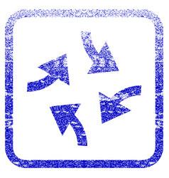 Swirl arrows framed textured icon vector