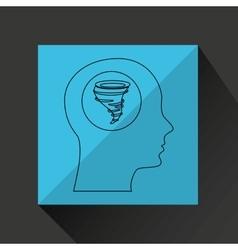 Symbol weather icon silhouette head and tornado vector