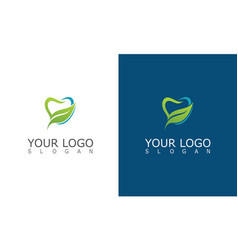 tooth dental leaf logo vector image