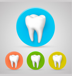Tooth set color collection template design vector