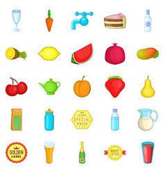 tropical fruits icons set cartoon style vector image
