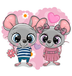 Two cartoon mouses on a heart background vector
