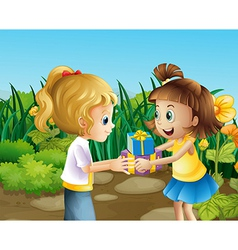Two friends exchanging gifts outdoor vector