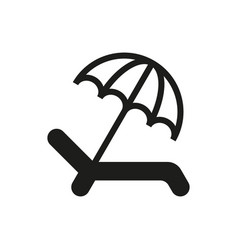 Umbrella recliner icon on white background vector