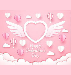 valentines day card paper cut style background vector image