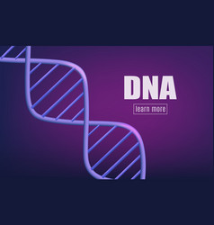 violet glowing background of realistic 3d dna vector image