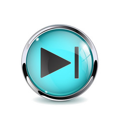 Web button play pause blue glass 3d icon with vector