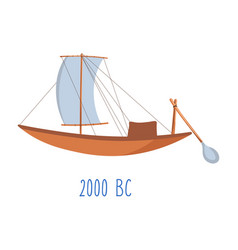 Wooden ship with sails and oar vintage boat vector