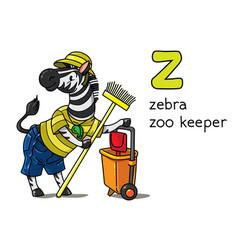 Zebra zoo keeper animals profession abc alphabet z vector
