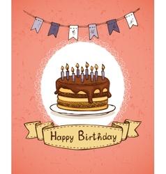 birthday invitation with chocolate cake vector image