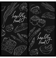 Collection of hand-drawn food on blackboard vector image vector image