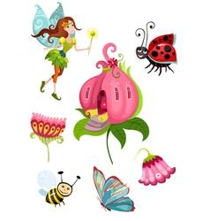 cute fairy set vector image vector image