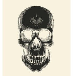 Human skull silhouette drawn in vintage engraving vector image vector image