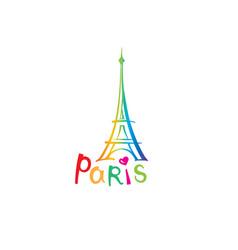 paris sign french famous landmark eiffel tower vector image