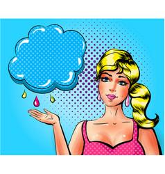 pop art sad woman showing cloud with vector image vector image