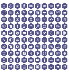 100 cyber security icons hexagon purple vector image vector image