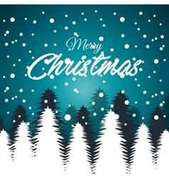 card greeting christmas snowfall with tree white vector image